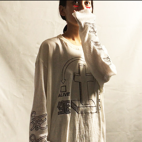 [TABINARY] HALF DEAD Long Sleeve(CROSS ver.white)