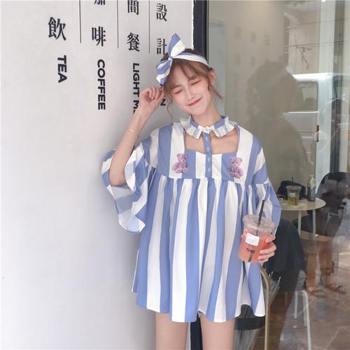 bear printed stripe dress 2571