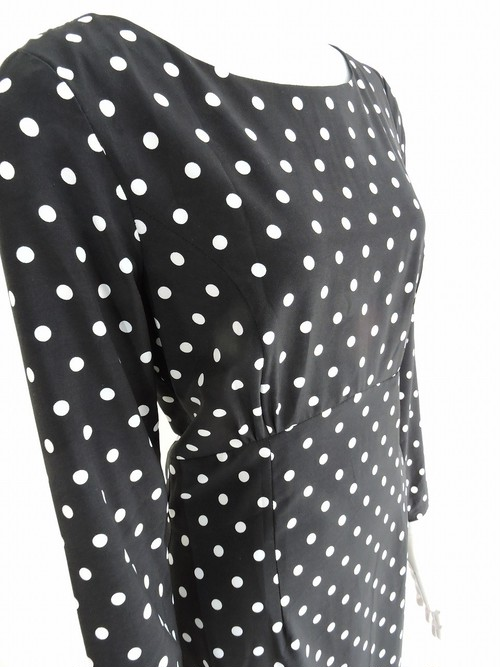 Black White Polka Dots Long Sleeve Sheath Dress 黒白 水玉 長袖 ワンピース KQCJN0425