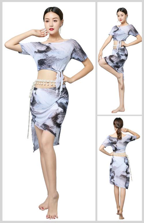 フラワープリント半袖片方の肩不規則なセクシーなベリーダンス 2 個セット女性のための女性ジプシー衣装パフォーマンス着た