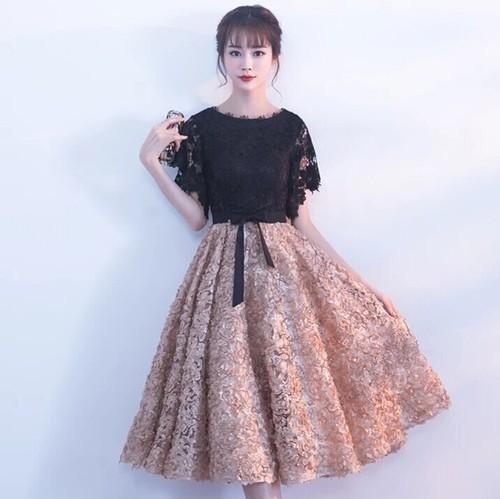 【送料無料】レース 花柄 膝丈 ワンピース ドレス