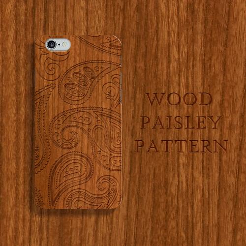 Wood Paisley 木目彫刻プリント チーク材風 スマホカバー