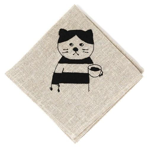 猫お弁当包み(リネンの刺繍)しま