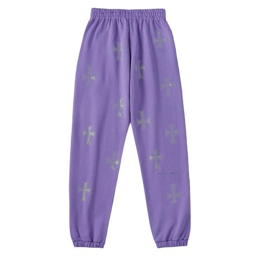 UNKNOWN Purple Cross Rhinestone Jogger Pants PURPLE