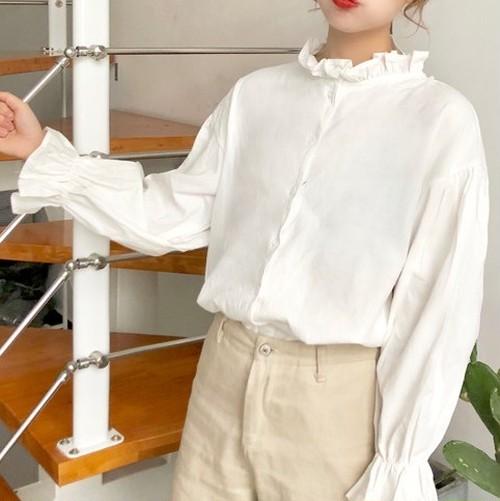 【即納♡】フリルスタンドカラーシャツ 7449