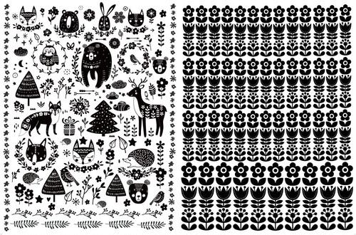 【set割引2枚セット 北欧の森・Kokkola(ポーセリンアート 北欧テキスタイル転写紙)