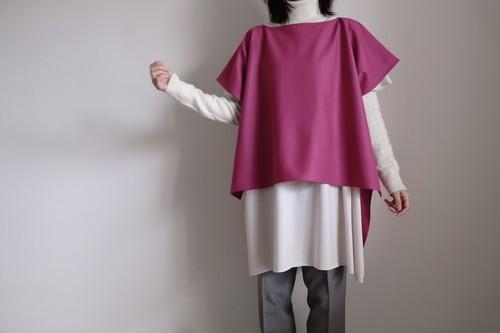 2way プルオーバー / ワイドスクエアー ハーフスリーブ/ ウール 【 マゼンタピンク 】ボートネック サイドスリット  /  wide square half sleeve pullover / wool【 magenta 】boat neck side slit