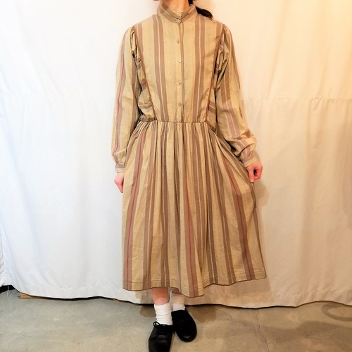 Vintage stripe dolman sleeves one-piece [K-823]