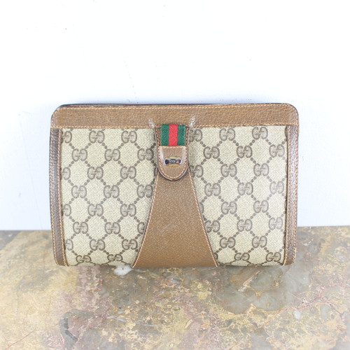 .OLD GUCCI SHERRY LINE GG PATTERNED CLUTCH BAG MADE IN ITALY/オールドグッチシェリーラインGG柄クラッチバッグ 2000000053219