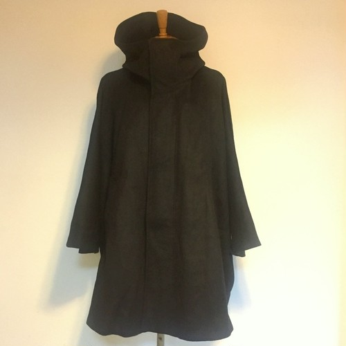 Melton Wool Hooded Poncho Black