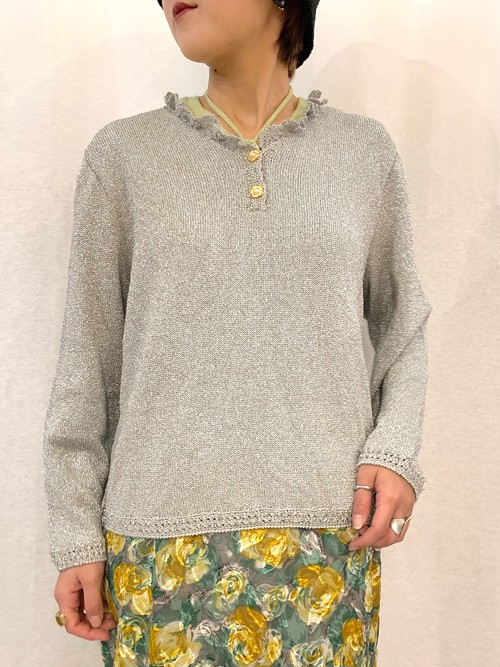 (TOYO) lame l/s knit tops