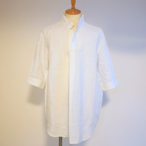 Linen Chambray Stand Color Pullover Shirts White