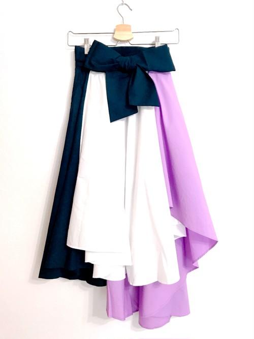 再入荷★配色切り替えのフィッシュテールスカート ラベンダー