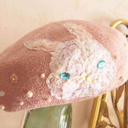 【綺羅星】ふわふわうさぎのベレー帽