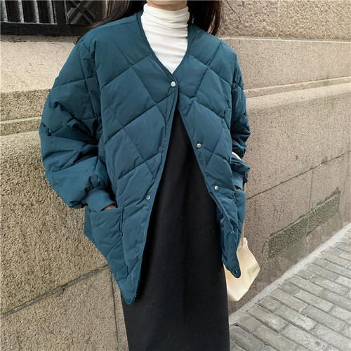 ファッション 新作 Vネック 長袖 無地 厚手 ダウンコート・アウター