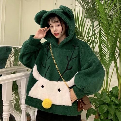 【トップス】秋冬学園風カートゥーン刺繡ゆったりカジュアルスウィートパーカー