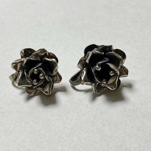 Vintage Sterling Flower Earrings Made In Mexico