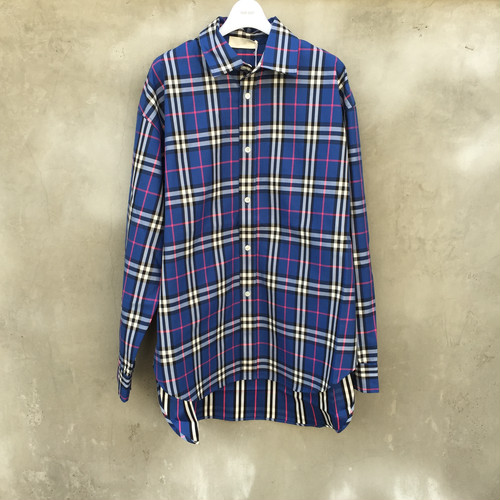 "NEON SIGN  ""tartan check long tail shirts"""