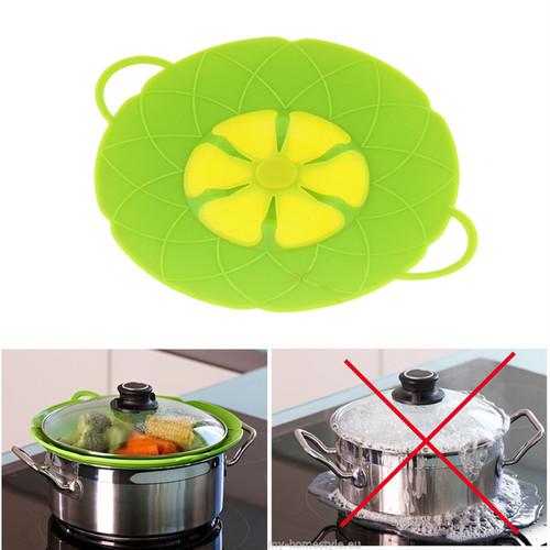 吹きこぼれ防止 シリコンふた 繰り返し使用 蒸し料理 にも 【グリーン】ofab300