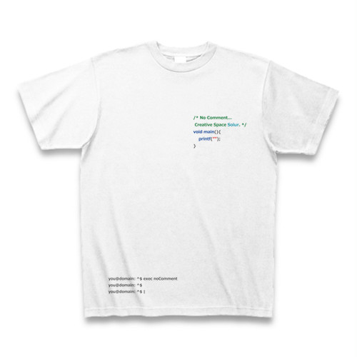 Programming PRINT T-shirt White Ver. - No Comment / C Language -