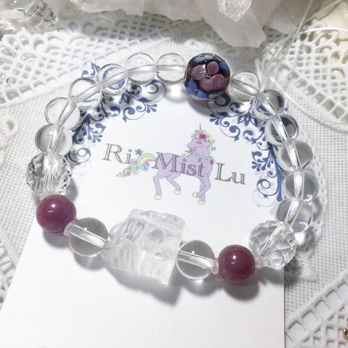 【プチプラ】招き猫水晶とルビー、ガラス玉のブレスレット