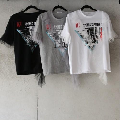 アシンメトリ チュール フリル ロックTシャツ(3カラー)