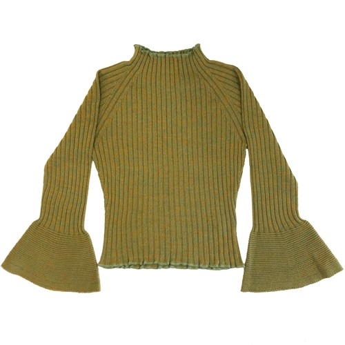 bell sleeve mix yarn knit top / green mix