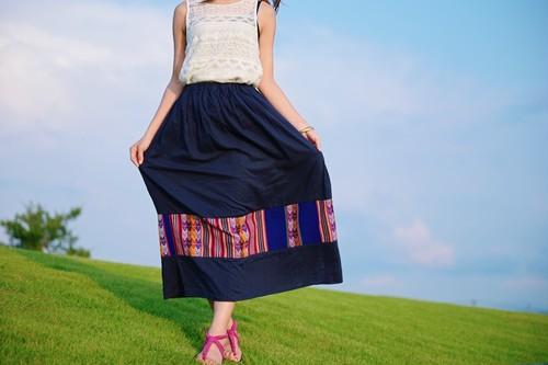 旅するスカート 【b ベースネイビー/ペルー布・ネイビー】
