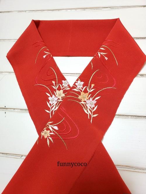 刺繍半襟 流水と花