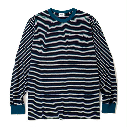 "Just Right ""Wide & Narrow Border Tee"" Navy x Blue"