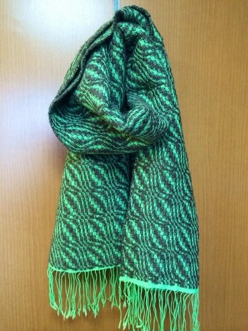 手紡ぎ 手織り:ピスタチオナッツのマフラー
