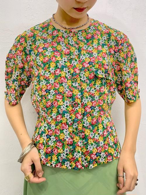 (TOYO) flower pattern no collar s/s blouse