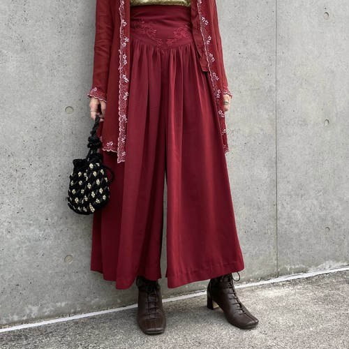 (LOOK) embroidery high waist wide pants