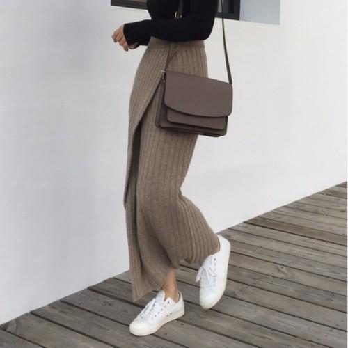 2色 simple ニットラップスカート c1680