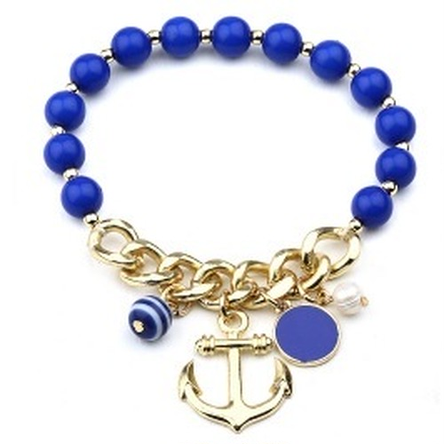 Anchor and Bead Charm Bracelet (FB0746)