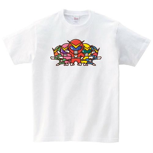 戦隊 ヒーロー Tシャツ メンズ レディース 半袖 白 おもしろ パロディ ネタ 大きいサイズ 綿100% 160 S M L XL