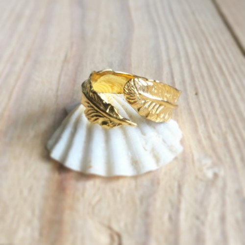 18K Gold Long feather ring