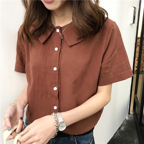 シンプル 半袖 ボタンシャツ 5カラー ts4125