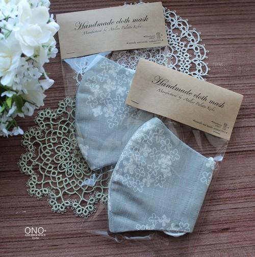 Paletteハンドメイドマスク* グレー地 白い花