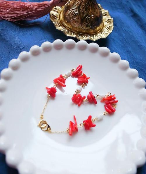 珊瑚×シェル アンクレット