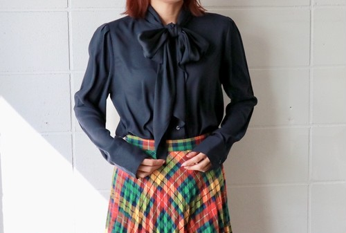 Navy bow tie blouse