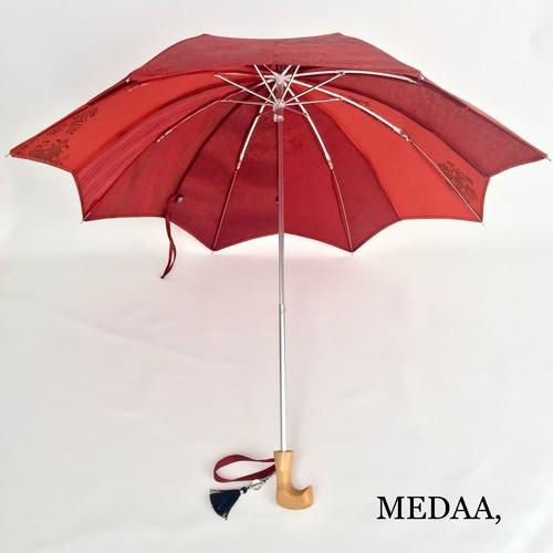 着物地の日傘 折りたたみ 赤系