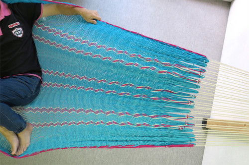 "ハンモック  ""Bed-mock""  ( Turquoise blue × Pink and Plain stripes )    Size-S  (180cm)"