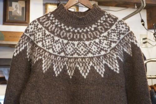 old ash-brown handknitted Icelandic Sweater
