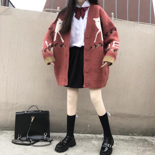 【トップス】レトロスウィートキュートVネックプリント文芸スタイルニットセーター