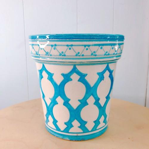 モロッコ アラベスク柄陶器鉢 ブルー