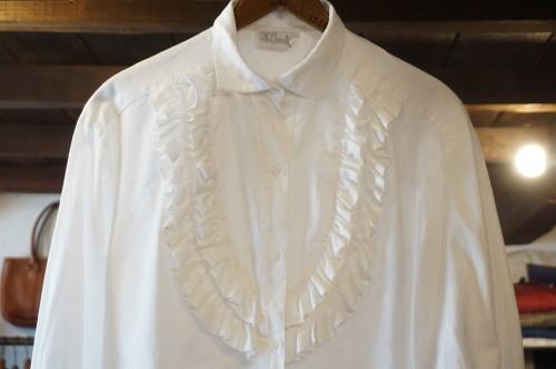80's white jacquard cotton frill Blouse