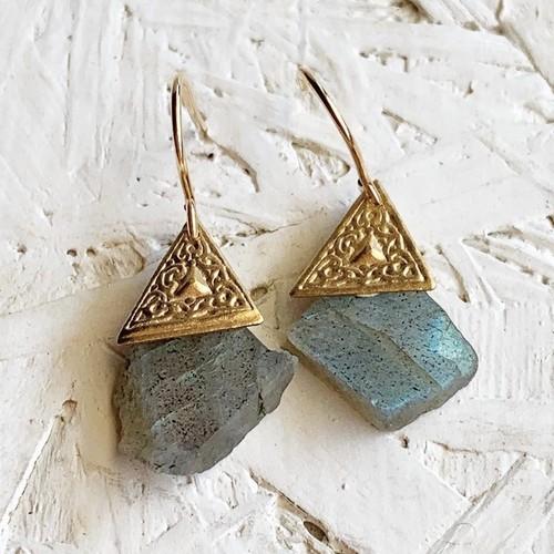 Labradrite slice earrings