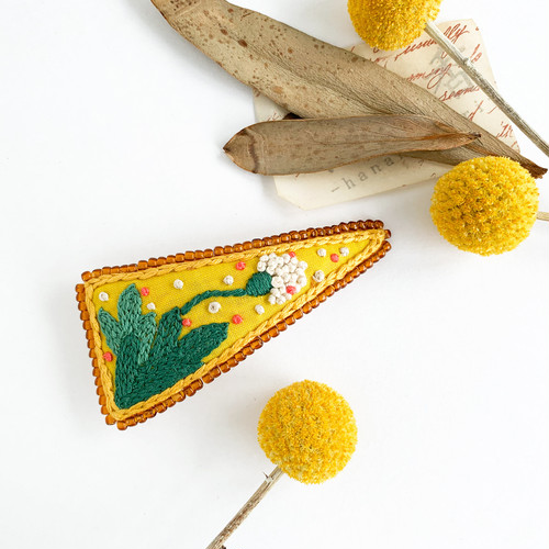"""Hair accessory : バレッタ """" Botanical embroidery, 草花2 """""""