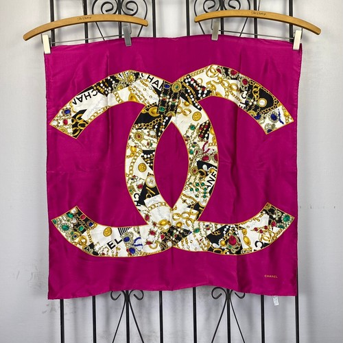 .CHANEL COCO MARC SILK100% LARGE SIZE SCARF MADE IN ITALY/シャネルココマークシルク100%大判スカーフ 2000000041957